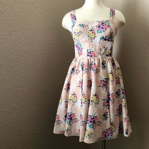 NEW Lauren Conrad Pale Pink Floral Fitted Dress